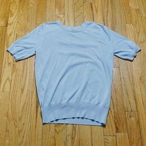 ZARA Knit Baby Blue Soft Short Sleeve Sweater (M)